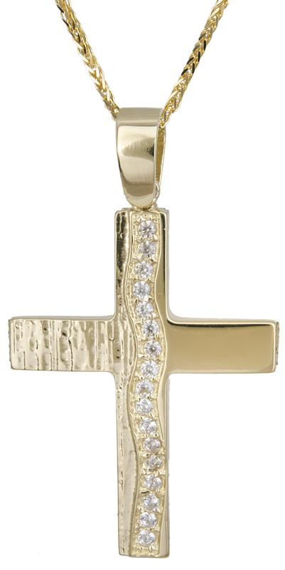 Βαπτιστικοί Σταυροί με Αλυσίδα Χρυσός σταυρός με αλυσίδα 14Κ C022133 022133C Γυναικείο Χρυσός 14 Καράτια