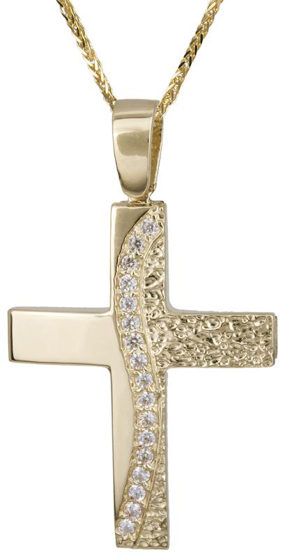 Βαπτιστικοί Σταυροί με Αλυσίδα Χρυσός σταυρός με πέτρες με αλυσίδα 14Κ C022135 022135C Γυναικείο Χρυσός 14 Καράτια