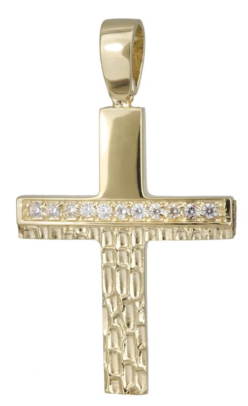 Σταυροί Βάπτισης - Αρραβώνα Χρυσός σταυρός για κορίτσι Κ14 022136 022136 Γυναικείο Χρυσός 14 Καράτια