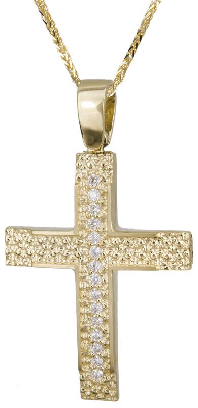 Βαπτιστικοί Σταυροί με Αλυσίδα Γυναικείος ανάγλυφος σταυρός 14Κ C022139 022139C Γυναικείο Χρυσός 14 Καράτια