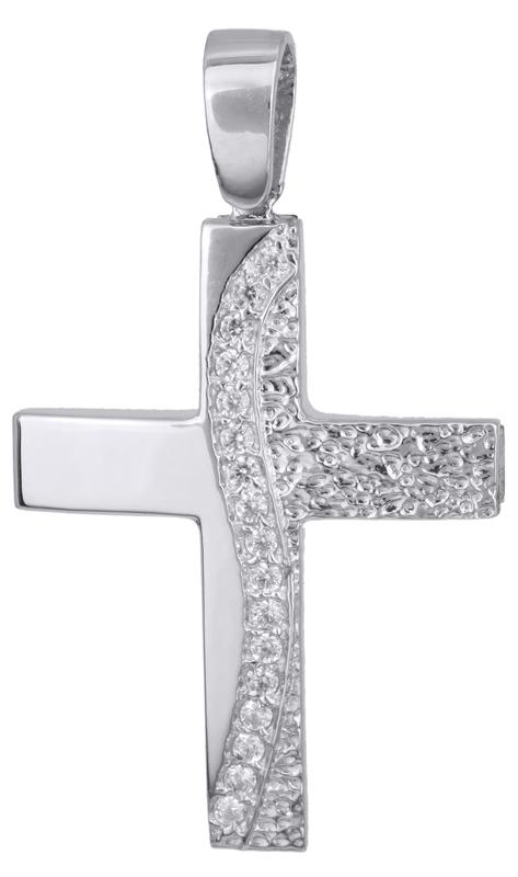 Σταυροί Βάπτισης - Αρραβώνα Γυναικείος λευκόχρυσος σταυρός Κ14 022140 022140 Γυναικείο Χρυσός 14 Καράτια