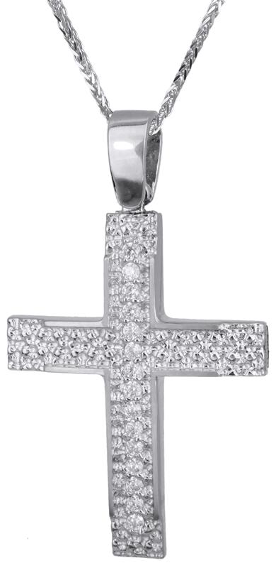 Βαπτιστικοί Σταυροί με Αλυσίδα Λευκόχρυσος ανάγλυφος σταυρός 14Κ C022141 022141C Γυναικείο Χρυσός 14 Καράτια