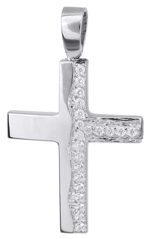 Σταυροί Βάπτισης - Αρραβώνα Λευκόχρυσος σταυρός βάπτισης Κ14 022143 022143 Γυναικείο Χρυσός 14 Καράτια