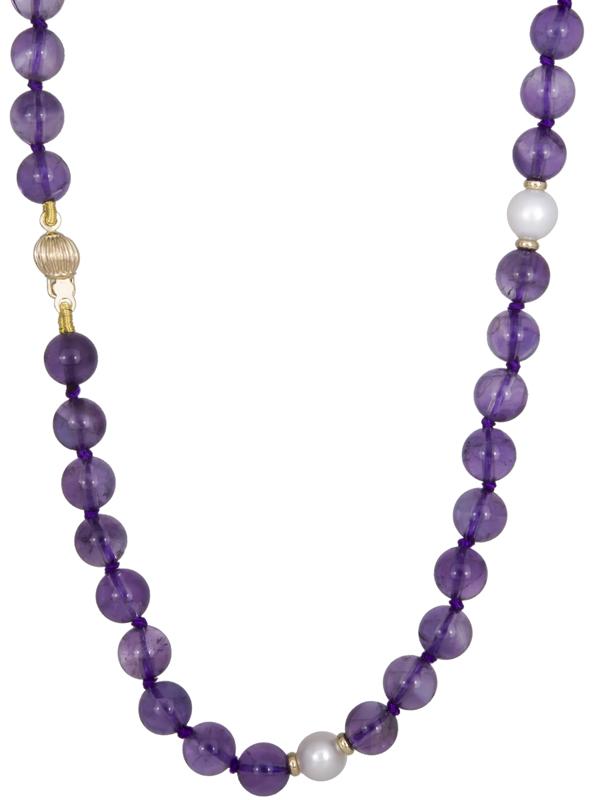 Γυναικείο κολιέ με πέτρες αμέθυστου 022145 022145 Χρυσός 14 Καράτια