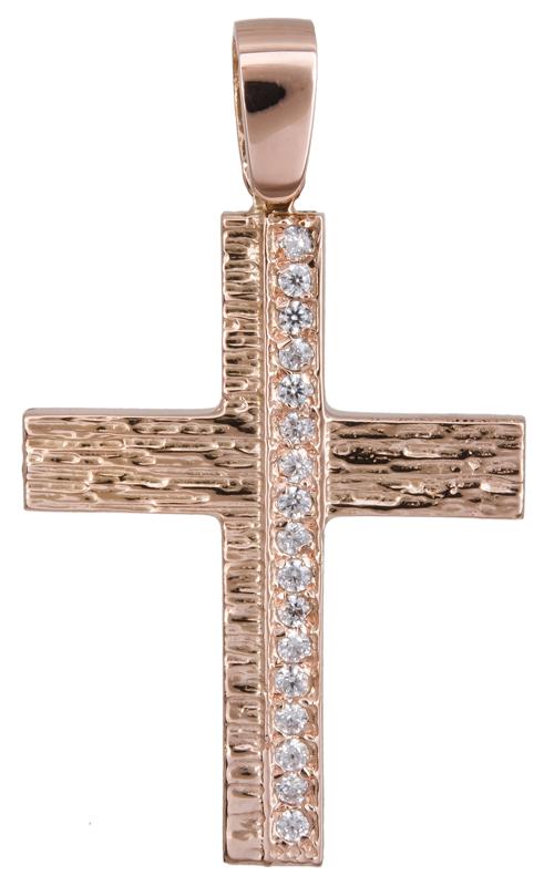 Σταυροί Βάπτισης - Αρραβώνα Ροζ gold ανάγλυφος σταυρός Κ14 022150 022150 Γυναικείο Χρυσός 14 Καράτια