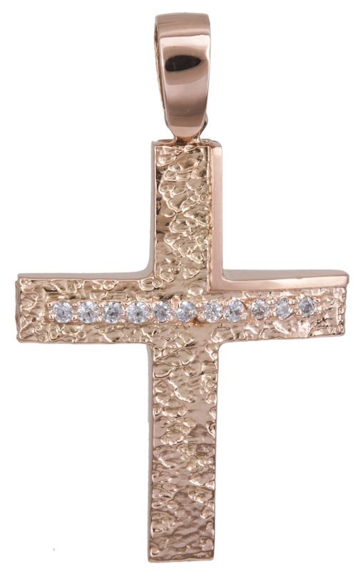 Σταυροί Βάπτισης - Αρραβώνα Ανάγλυφος σταυρός σε ροζ χρυσό Κ14 022152 022152 Γυναικείο Χρυσός 14 Καράτια