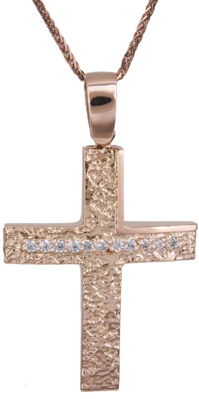 Βαπτιστικοί Σταυροί με Αλυσίδα Ροζ gold σταυρός με αλυσίδα 14Κ C022152 022152C Γυναικείο Χρυσός 14 Καράτια