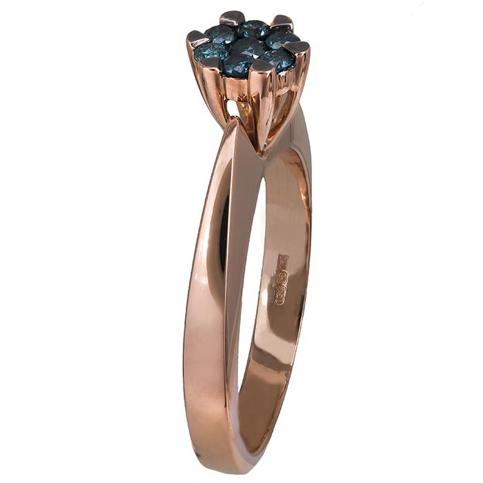 Μονόπετρο ροζ gold δαχτυλίδι Κ18 με μπλε διαμάντια 022164 022164 Χρυσός 18 Καράτ χρυσά κοσμήματα δαχτυλίδια μονόπετρα