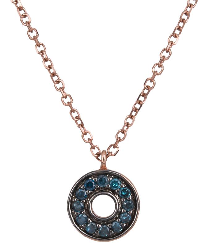 Γυναικείο κολιέ με μπλε διαμάντια 022167 022167 Χρυσός 18 Καράτια χρυσά κοσμήματα κολιέ