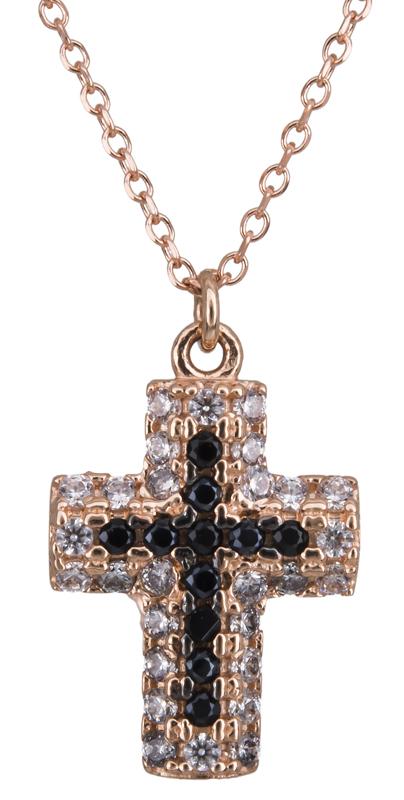 Ροζ gold κολιέ σταυρός Κ14 022191 022191 Χρυσός 14 Καράτια