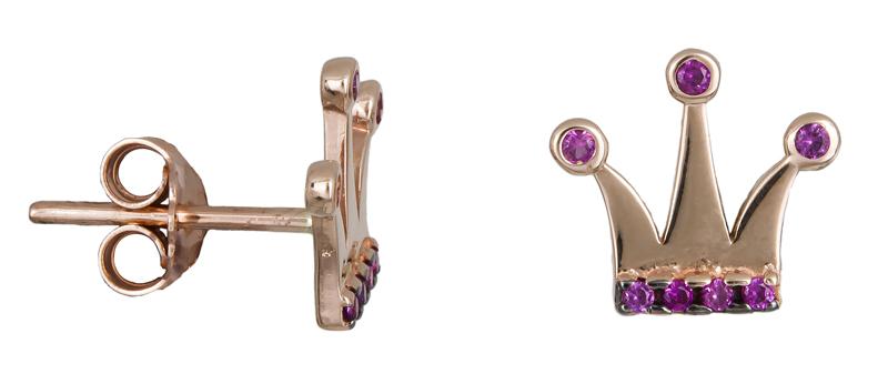 Ροζ gold σκουλαρίκια κορώνες Κ14 022211 022211 Χρυσός 14 Καράτια