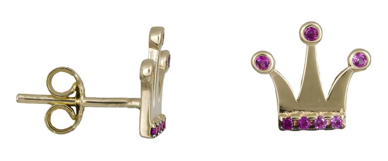 Χρυσά σκουλαρίκια κορώνες Κ14 022212 022212 Χρυσός 14 Καράτια
