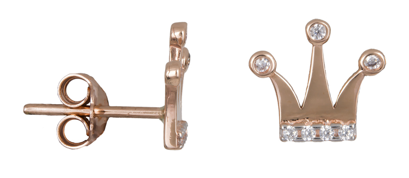 Σκουλαρίκια κορώνες με πέτρες Κ14 022217 022217 Χρυσός 14 Καράτια
