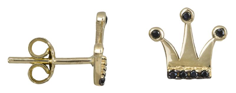 Σκουλαρίκια κορώνες με μαύρες ζιργκόν Κ14 022218 022218 Χρυσός 14 Καράτια