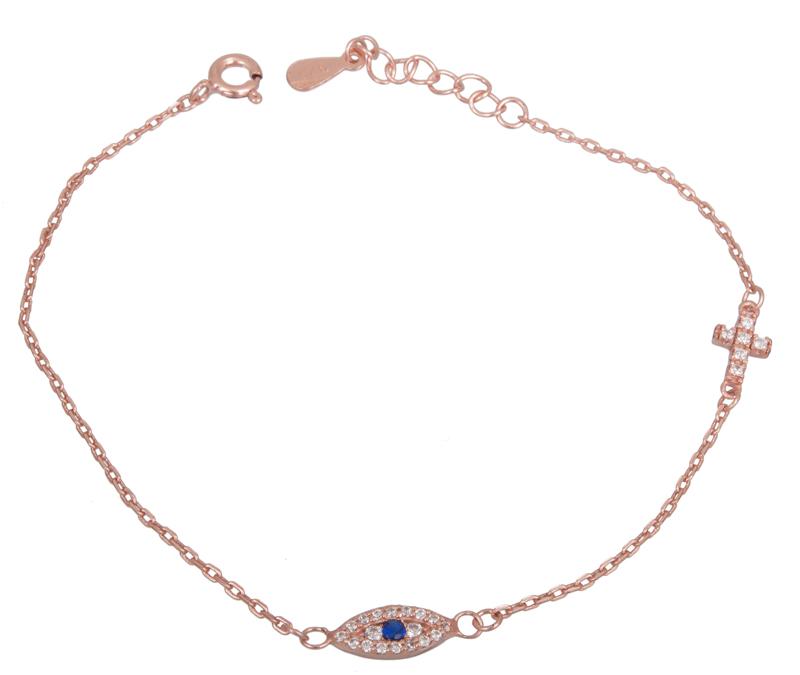 Ροζ επίχρυσο βραχιόλι με ματάκι 925 022253 022253 Ασήμι
