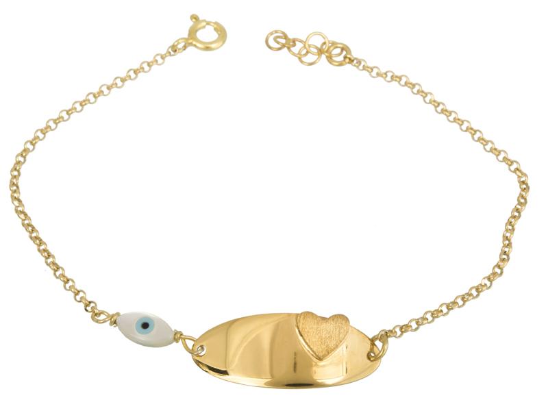 Επίχρυση ταυτότητα με καρδούλα 925 022261 022261 Ασήμι ασημένια κοσμήματα βραχιόλια