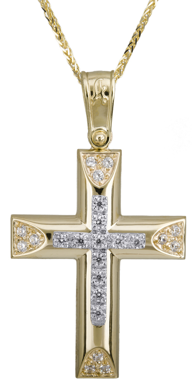 Βαπτιστικοί Σταυροί με Αλυσίδα Χρυσός σταυρός με καδένα 14Κ C022278 022278C Γυναικείο Χρυσός 14 Καράτια
