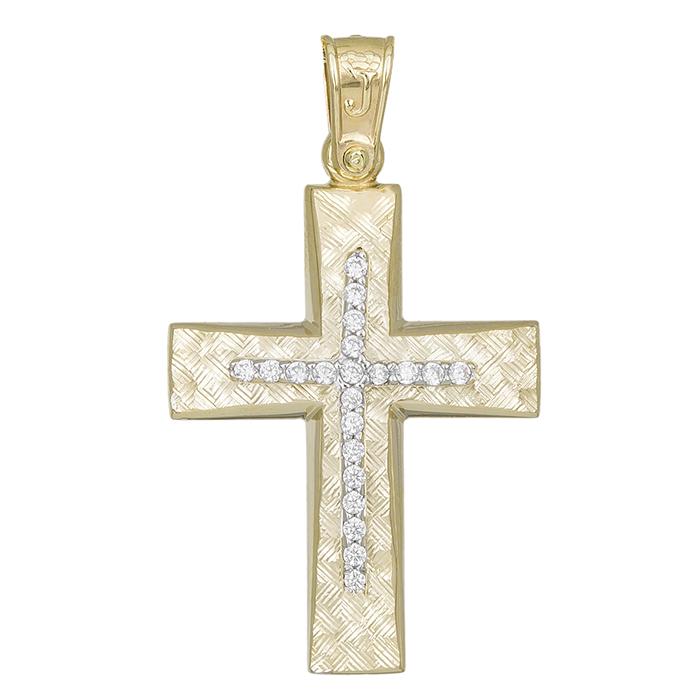 Σταυροί Βάπτισης - Αρραβώνα Χρυσός σταυρός για κορίτσι Κ14 022279 022279 Γυναικείο Χρυσός 14 Καράτια