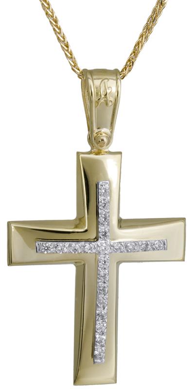 Βαπτιστικοί Σταυροί με Αλυσίδα Χρυσός σταυρός με αλυσίδα 14Κ C022283 022283C Γυναικείο Χρυσός 14 Καράτια