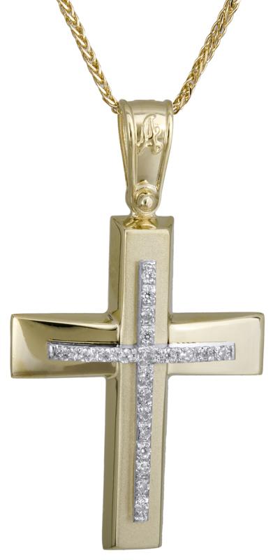 Βαπτιστικοί Σταυροί με Αλυσίδα Χρυσός γυναικείος σταυρός 14Κ C022284 022284C Γυναικείο Χρυσός 14 Καράτια