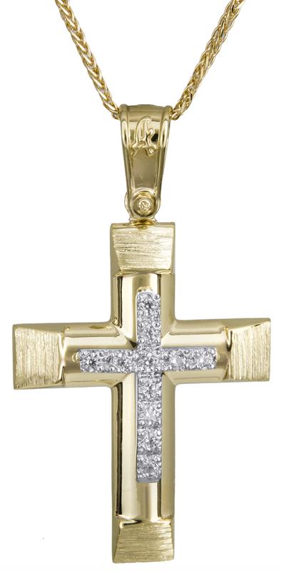 Βαπτιστικοί Σταυροί με Αλυσίδα Γυναικείος σταυρός με πέτρες 14Κ C022285 022285C Γυναικείο Χρυσός 14 Καράτια