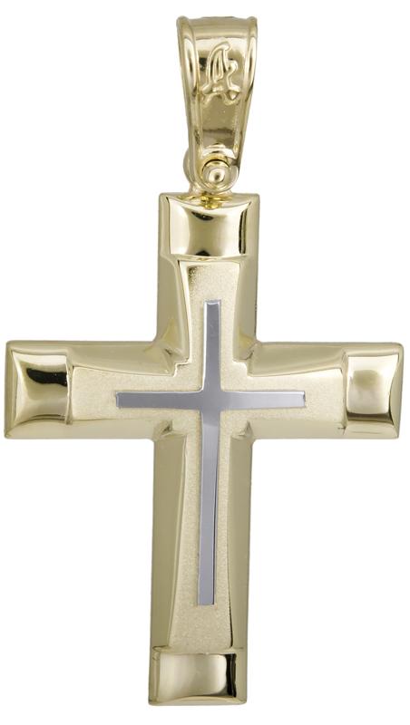 Σταυροί Βάπτισης - Αρραβώνα Δίχρωμος κλασικός σταυρός 14Κ 022289 022289 Ανδρικό Χρυσός 14 Καράτια