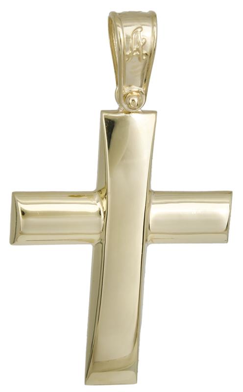 Σταυροί Βάπτισης - Αρραβώνα Χρυσός λουστρέ σταυρός 14Κ 022290 022290 Ανδρικό Χρυσός 14 Καράτια