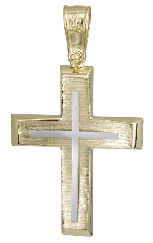 Σταυροί Βάπτισης - Αρραβώνα Δίχρωμος σταυρός βάπτισης 14Κ 022292 022292 Ανδρικό Χρυσός 14 Καράτια