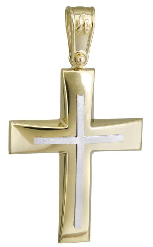 Σταυροί Βάπτισης - Αρραβώνα Δίχρωμος σταυρός βάπτισης 14Κ 022296 022296 Ανδρικό Χρυσός 14 Καράτια
