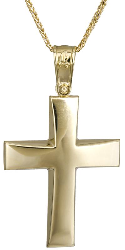 Βαπτιστικοί Σταυροί με Αλυσίδα Κλασικός σταυρός με αλυσίδα Κ14 C022297 022297C Ανδρικό Χρυσός 14 Καράτια