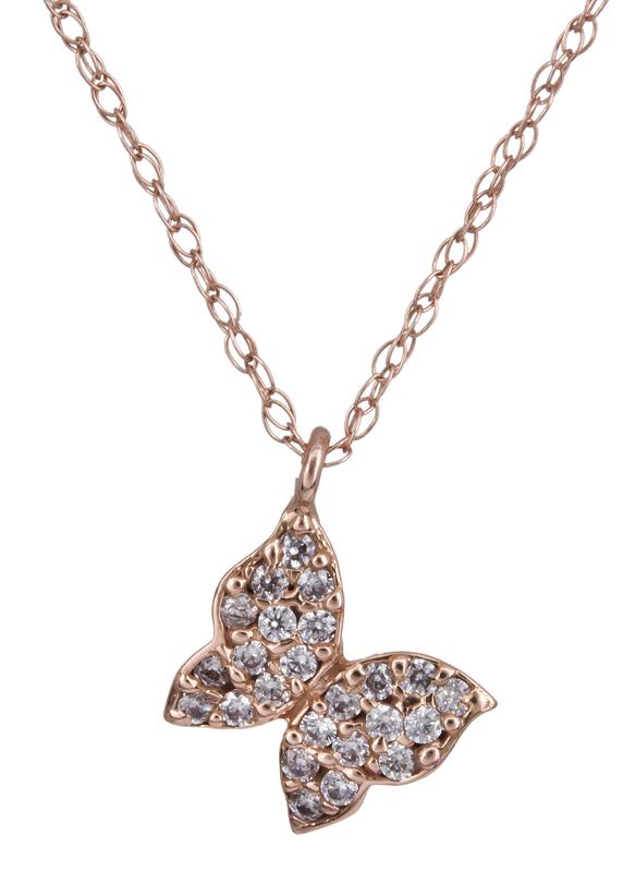 Ροζ gold κολιέ πεταλούδα Κ14 022347 022347 Χρυσός 14 Καράτια