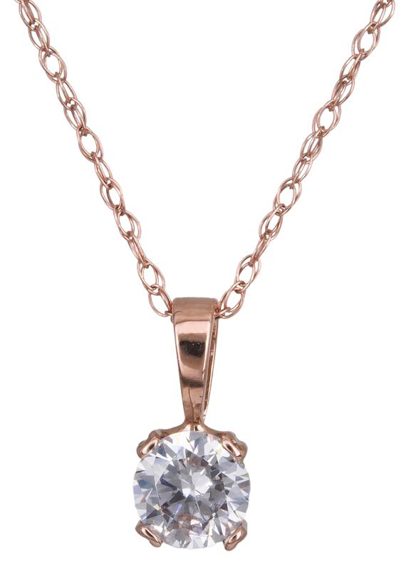 Ροζ κολιέ με πέτρα ζιργκόν Κ14 022356 022356 Χρυσός 14 Καράτια