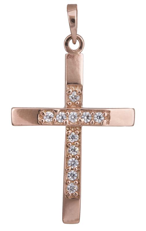 Σταυροί Βάπτισης - Αρραβώνα Γυναικείος ροζ χρυσός σταυρός Κ14 022359 022359 Γυνα σταυροί βάπτισης   γάμου σταυροί βάπτισης   αρραβώνα