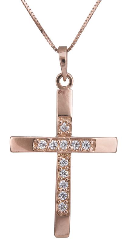 Βαπτιστικοί Σταυροί με Αλυσίδα Ροζ γυναικείος σταυρός Κ14 με αλυσίδα C022359 022359C Γυναικείο Χρυσός 14 Καράτια