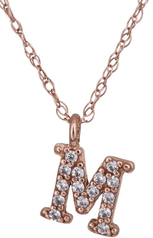 Ροζ gold μονόγραμμα Μ με πέτρες 022375 022375 Χρυσός 14 Καράτια