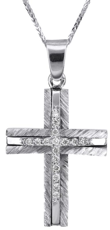 Βαπτιστικοί Σταυροί με Αλυσίδα Λευκόχρυσος σταυρός με διαμάντια Κ18 C022403 022403C Γυναικείο Χρυσός 18 Καράτια