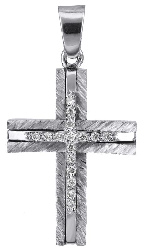 Σταυροί Βάπτισης - Αρραβώνα Γυναικείος σταυρός με διαμάντια 18Κ 022403 022403 Γυναικείο Χρυσός 18 Καράτια