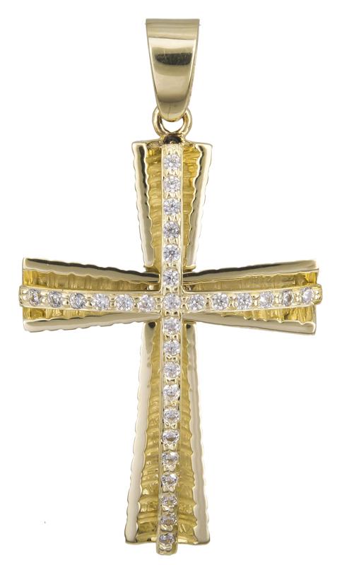 Σταυροί Βάπτισης - Αρραβώνα Γυναικείος χρυσός σταυρός με πέτρες Κ14 022406 022406 Γυναικείο Χρυσός 14 Καράτια