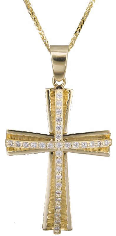 Βαπτιστικοί Σταυροί με Αλυσίδα Χρυσός σταυρός βάπτισης με αλυσίδα 14Κ C022406 022406C Γυναικείο Χρυσός 14 Καράτια