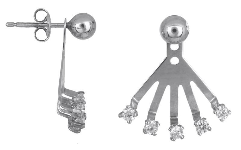 Λευκόχρυσα γυναικεία σκουλαρίκια Κ14 022434 022434 Χρυσός 14 Καράτια