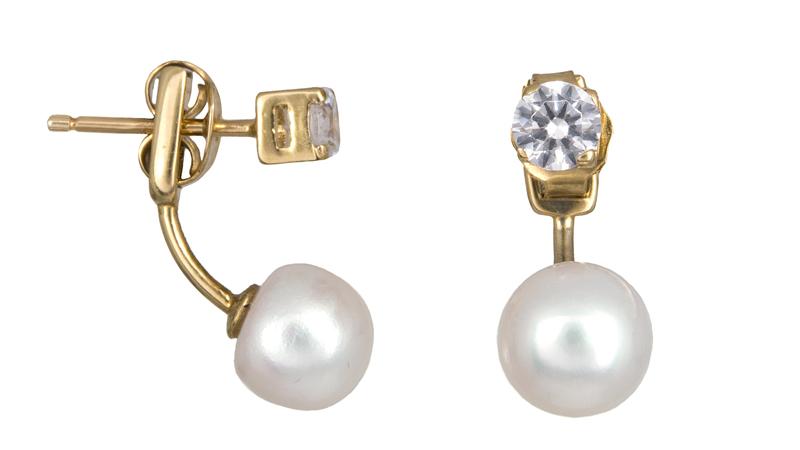 Σκουλαρίκια με μαργαριτάρια και ζιργκόν Κ14 022456 022456 Χρυσός 14 Καράτια