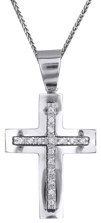 Βαπτιστικοί Σταυροί με Αλυσίδα Γυναικείος σταυρός λευκόχρυσος C002247 002247C Γυναικείο Χρυσός 14 Καράτια