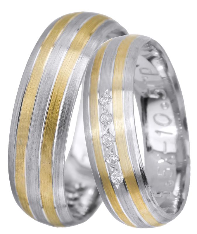 Δίχρωμες ματ βέρες γάμου Κ14 022541 022541 Χρυσός 14 Καράτια