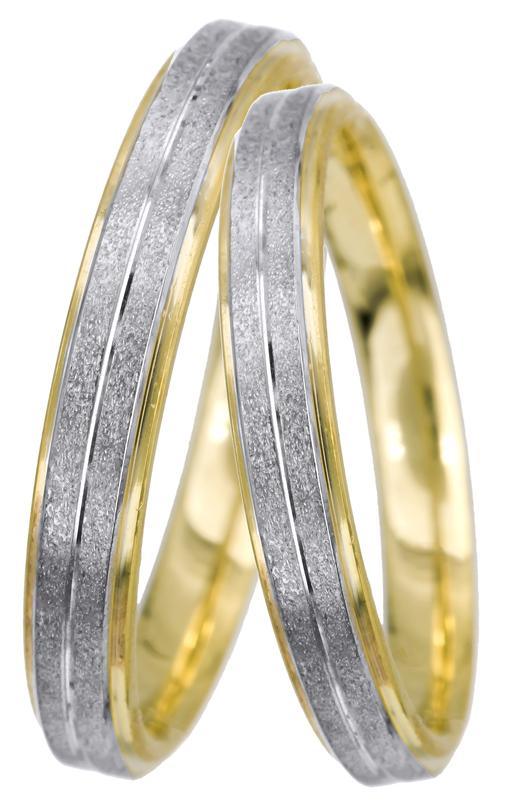 Δίχρωμες ματ βέρες Κ14 022552 022552 Χρυσός 14 Καράτια