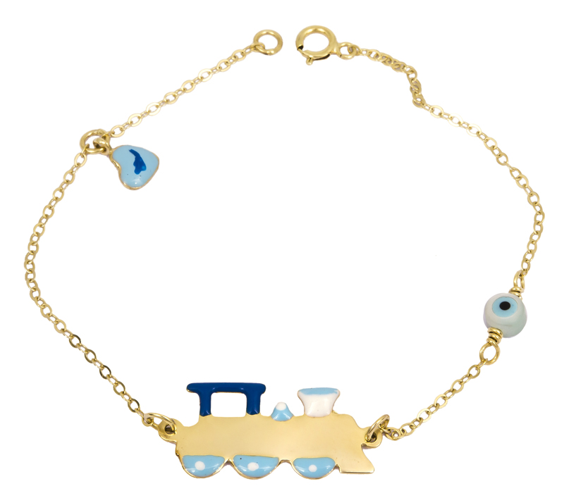 Βραχιόλι - ταυτότητα τρενάκι Κ9 022590 022590 Χρυσός 9 Καράτια