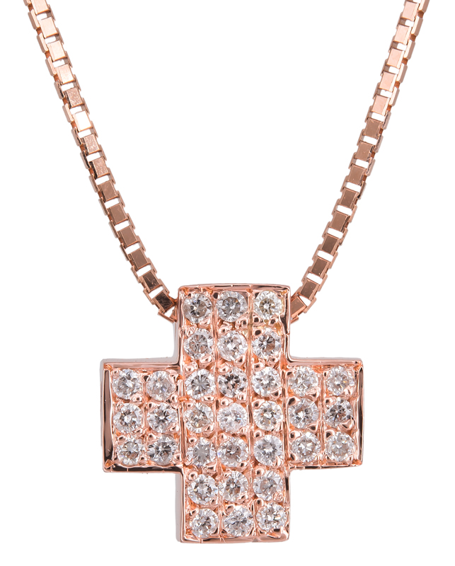 Ροζ gold σταυρός με διαμάντια Κ18 022595 022595 Χρυσός 18 Καράτια χρυσά κοσμήματα σταυροί