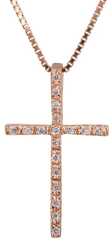 Βαπτιστικοί Σταυροί με Αλυσίδα Ροζ χρυσός σταυρός με διαμάντια 18Κ 022596 022596 Γυναικείο Χρυσός 18 Καράτια