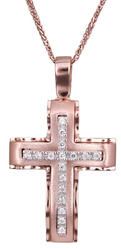 Βαπτιστικοί Σταυροί με Αλυσίδα Γυναικείος σταυρός ροζ χρυσό 14Κ C022612 022612C Γυναικείο Χρυσός 14 Καράτια
