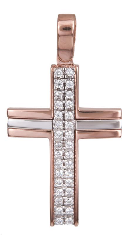Σταυροί Βάπτισης - Αρραβώνα Γυναικείος δίχρωμος σταυρός Κ14 022613 022613 Γυναικείο Χρυσός 14 Καράτια