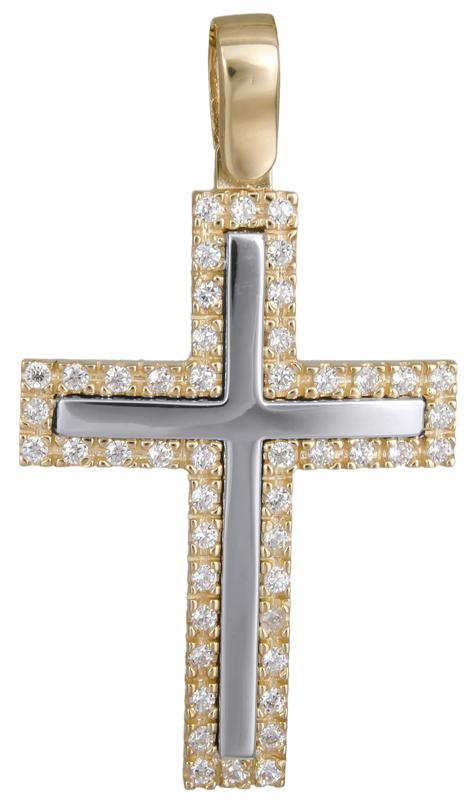 Σταυροί Βάπτισης - Αρραβώνα Δίχρωμος σταυρός με πέτρες 14Κ 022615 022615 Γυναικείο Χρυσός 14 Καράτια
